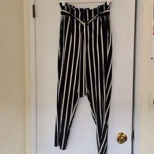 H&M Pants - H&M Striped High-Waist Pants